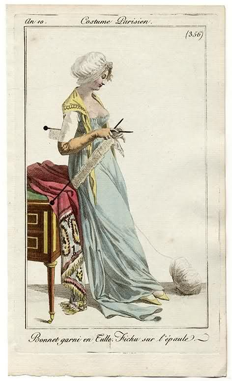 Parisian woman knitting on LONG needles. Taken from a fashion magazine printed in 1801!