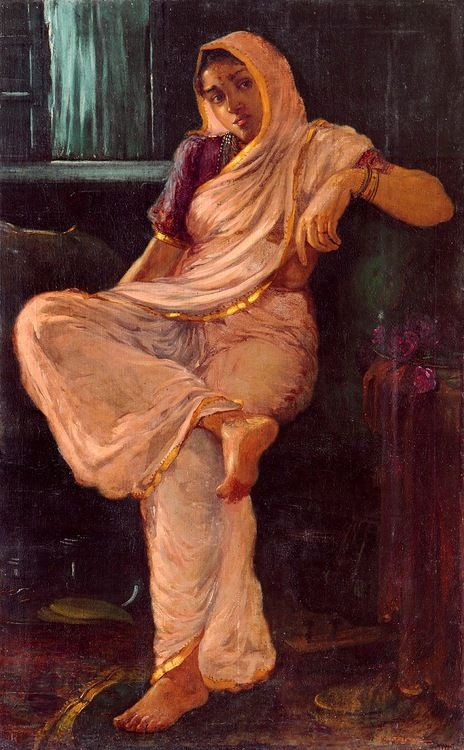 Another 1910s/20s painting of a woman in a nine yard sari, this one by L N Taskar