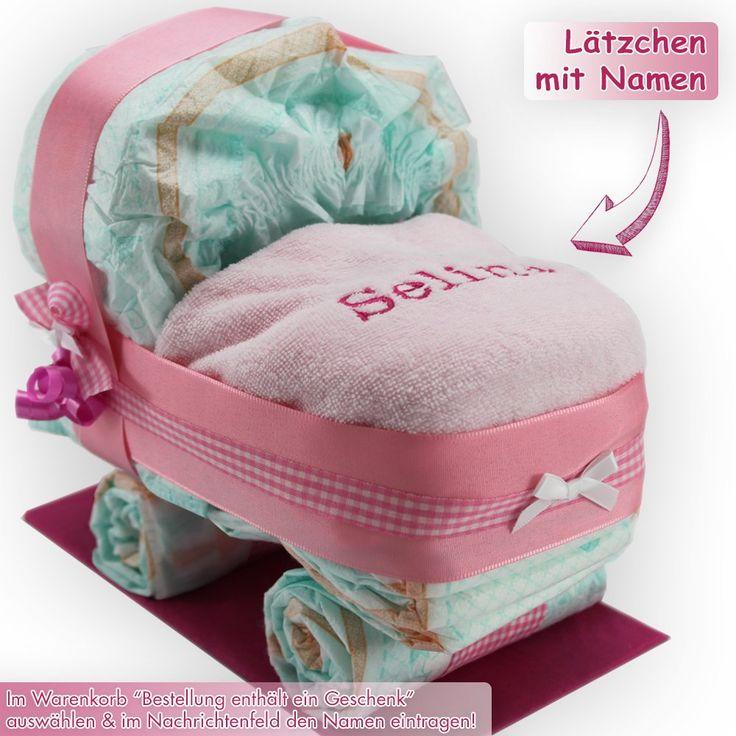 Windeltorte / Windelwagen rosa für Mädchen - inkl. besticktem Lätzchen mit Ihrem Wunschnamen + gratis Grußkärtchen