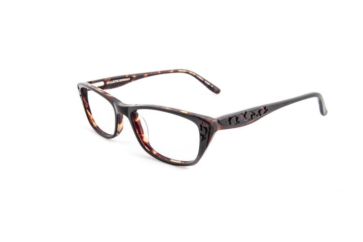 Decadence - 25633993. Two pairs from only $439, including standard single vision PENTAX lenses.    Beautifully crafted acetate frame replicating Collette's embroidery as detailing on the sides and front. In tortoiseshell, the frame is discrete, classic and a great fit for many. The softly angled rectangular shape will suit both rounded and angular face shapes.