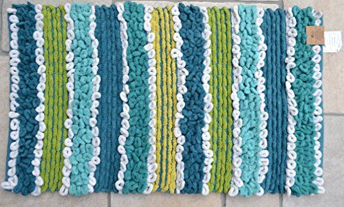 Bobble Loop Bath Mat Blue Green Stripe Soft Fluffy Bathroom 50cm x 85cm