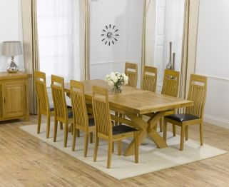 Mark Harris Cheshire Solid Oak 200cm Extending Dining Table With 8 Monte Carlo Brown Chairs