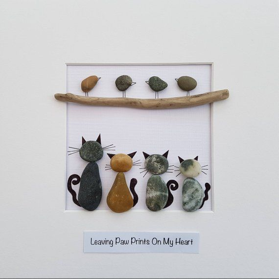 Pebble art cat mothers day gift for mom engagement gift unique birthday gift for her fathers day gift anniversary gift family pebble art dog