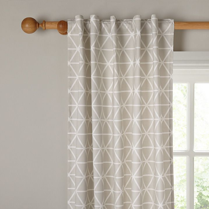 Buy House by John Lewis Geometric Hidden Tab Top Unlined Curtains, Smoke, W117 x 137cm Online at johnlewis.com