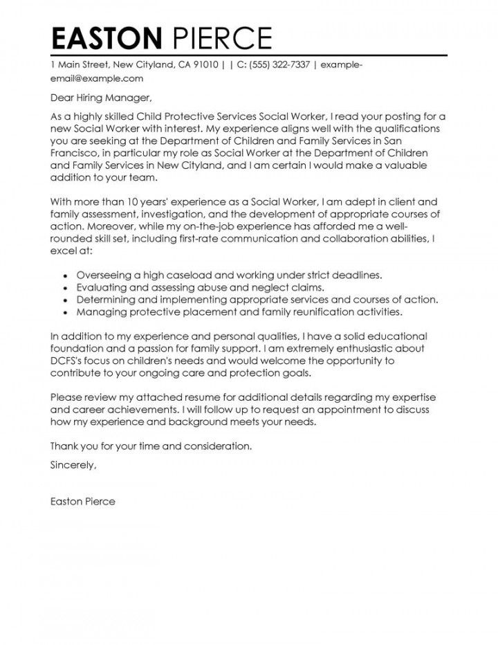 cover letter template social work
