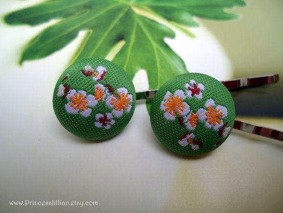 Fabric bobby pins Japanese cherry blossom door PrincessJillian