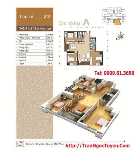 Chung cư The Pride căn hộ 22, 24 - 145.9m2