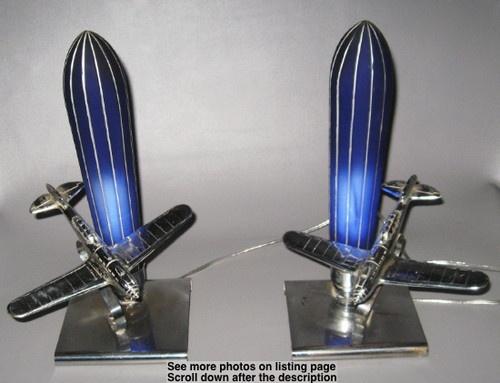 c1930 True Pair Frankart Art Deco Tiger Ace Airplane Lamps w/Cobalt Glass