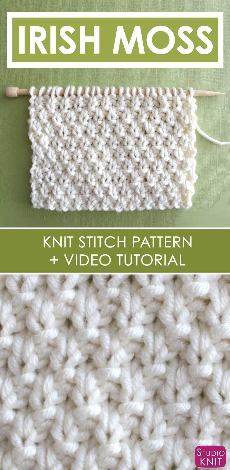 Irish Moss Knit Stitch Pattern and Video Tutorial by Studio Knit on YouTube