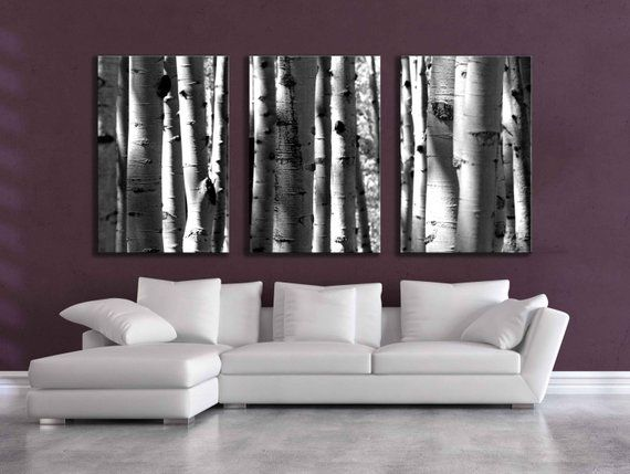 Large Black White Three Canvas Wall Grouping 80 Inch Aspen Tree Decor Mountain Huge Living Room Be Wall Canvas Wall Groupings Black White Bedrooms
