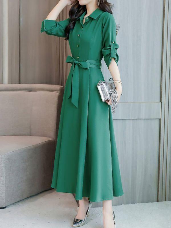 efbed5c1f616 Shirt Collar Maxi Dress A-line Daytime Dress Half Sleeve Linen Bow Solid  Dress – Chicloth