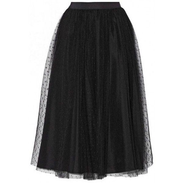 Falda larga de tul negro