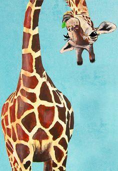 Tierische Malerei Portrait Gemälde Giclee Print Acryl Malerei Illustration Print Wand Kunst Wand Dekor Wand hängen: Giraffe mit Blatt