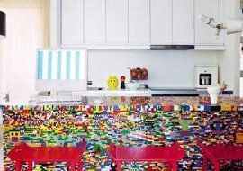 Check Out This Kitchen Countertop Made from 20,000 Legos — Now I know what to do with all that Lego!