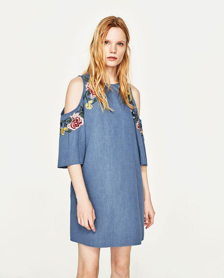 OFF-THE-SHOULDER EMBROIDERED DRESS-DRESSES-TRF | ZARA United States