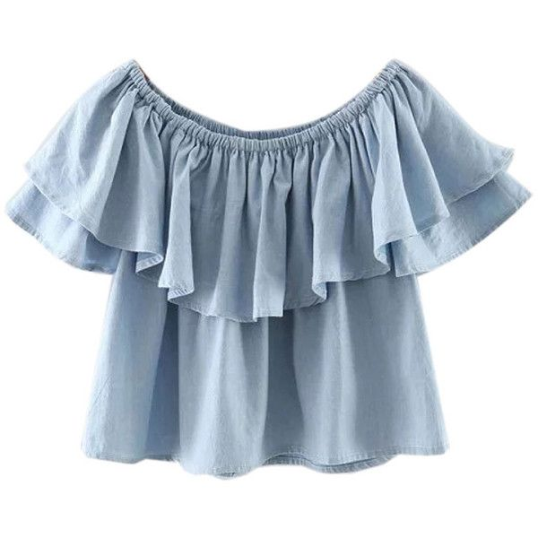 Blue Off Shoulder Ruffle Hem Blouse ($24) ❤ liked on Polyvore featuring tops, blouses, shirts, crop tops, croppeds, off shoulder blouse, blue shirt, off the shoulder blouse, blue top and cotton shirts