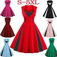 Wish | New Women Sleeveless Floral Print Casual Ball Gown 1950s Retro Elegant Cocktail Party Rockabilly Swing Dress