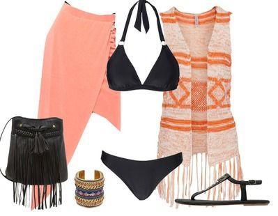 Een super look voor na een dagje strand. Na een lekker dagje zwemmen en zonnen is een strandfeestje de ideale afsluiting. Draag over jouw bikini een luchtige maxi rok en gilet en je ziet er super uit!