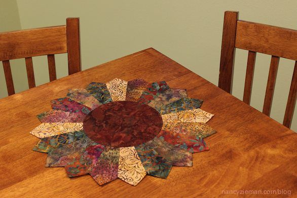 Sew an Easy Sunflower Table Topper from a Trace 'n Create Quilt Template Dresden Collection by Nancy Zieman.
