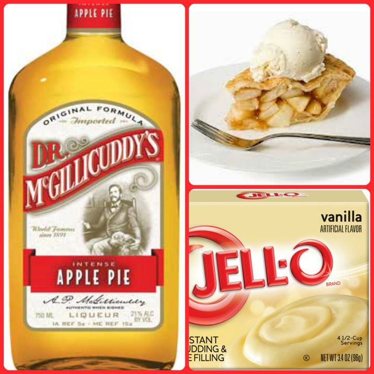 Apple Pie Pudding Shots  1 small Pkg. vanilla instant pudding ¾ Cup Milk 3/4 Cup Dr McGillicuddy's Apple Pie Liqueur  8oz tub Cool Whip  Directions 1. Whisk together the milk, liquor, and instant pudding mix in a bowl until combined. 2. Add cool whip a little at a time with whisk. 3.Spoon the pudding mixture into shot glasses, disposable shot cups or 1 or 2 ounce cups with lids. Place in freezer for at least 2 hours