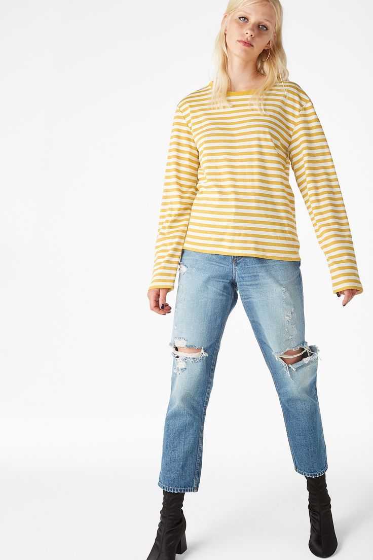 Monki Image 3 of Soft long-sleeved top in Yellow Reddish