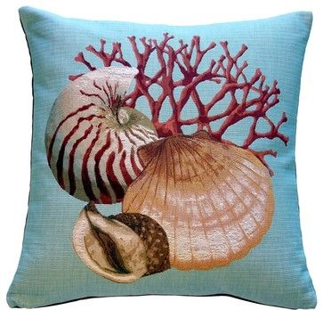 Pillow Decor - Coral and Shells Blue Nautical Throw Pillow - beach-style - Decorative Pillows - Pillow Decor Ltd.