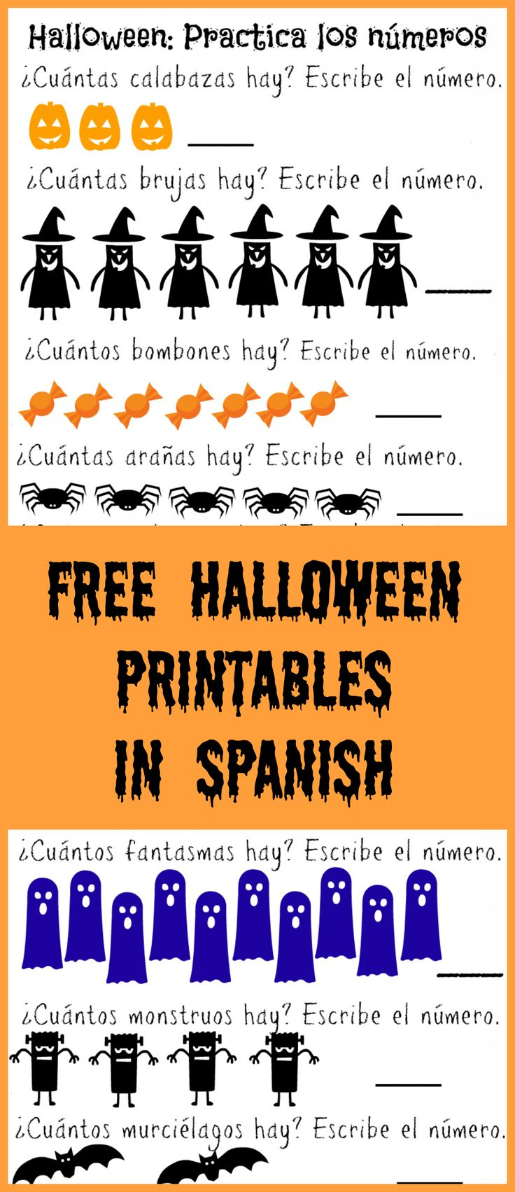 Spanish colors for preschool - Free Halloween Printables In Spanish Practice Vocabulary Colors And More