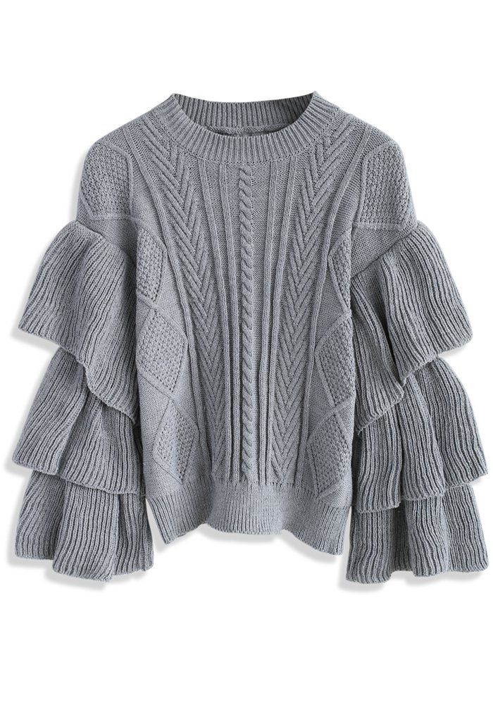 Grey Cable Knit Sweater with Tiered Flare Sleeves - New Arrivals - Retro, Indie and Unique Fashion