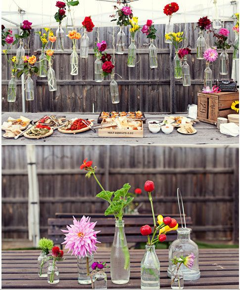Having a party? Tie vases to the fence and fill with plants or flowers. | 51 Budget Backyard DIYs That Are Borderline Genius