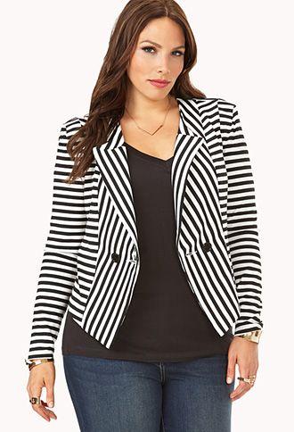 Mod Striped High-Cut Back Blazer | FOREVER 21 - 2000108250