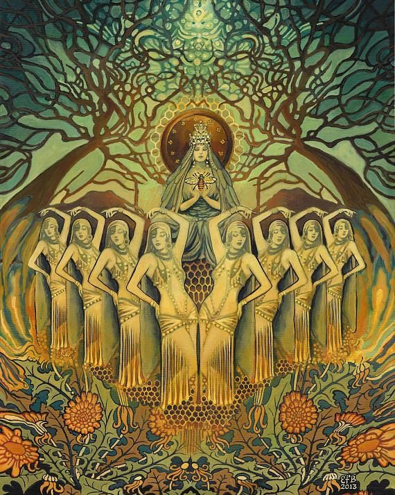 Abeille Art déco déesse païenne miel Reine 5 x 7 par EmilyBalivet