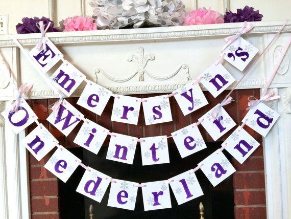 Purple Winter Onederland Birthday Decor  I by anyoccasionbanners