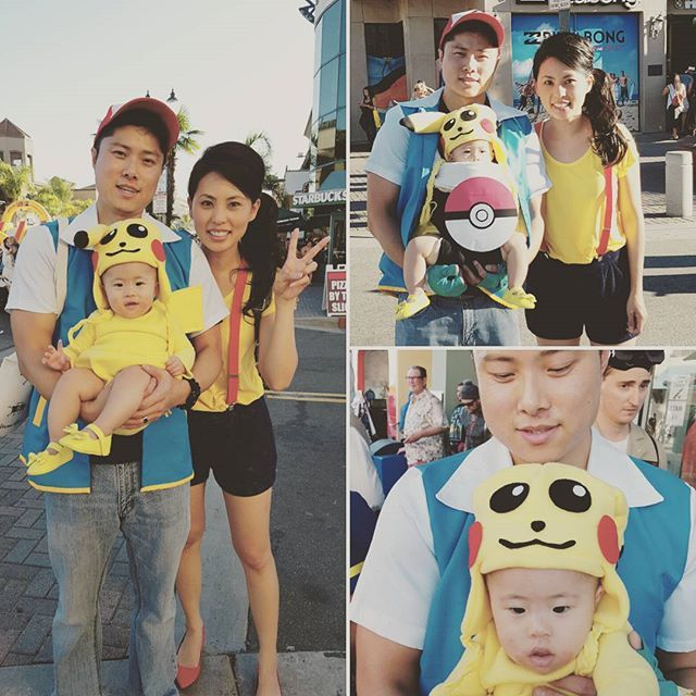 pin for later 42 adorable halloween costumes for baby wearing parents pikachu in a pokball and ash and misty - Halloween Costumes For Parents And Baby