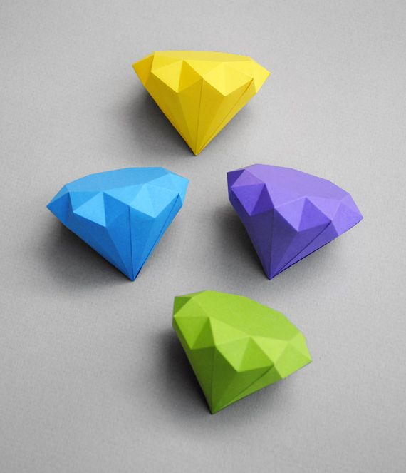 3D Paper DiamondsOrigami Diamonds, Crafts Ideas, Art Crafts, 3D Paper, Best Friends, Printables Templates, Paper Diamonds, Diy, Paper Crafts