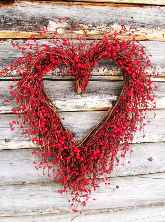 BE MY VALENTINE Red Berry Heart WreathGrapevine by WildRidgeDesign