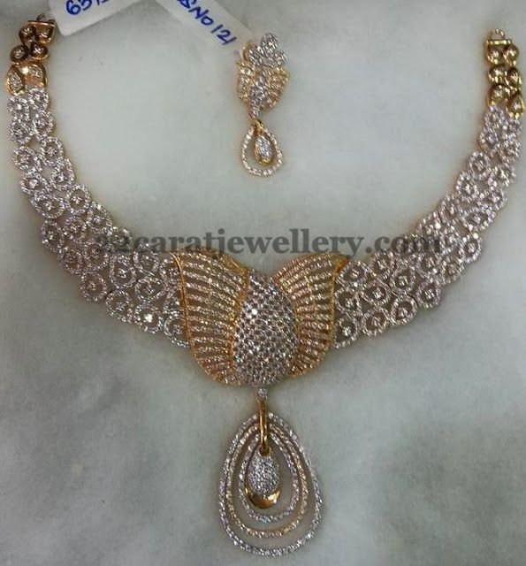Lotus Floral Work Diamond Set | Jewellery Designs
