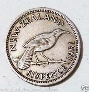 KING-GEORGE-VI-Emperor-1951-New-Zealand-SIXPENCE-Pre-Decimal-NZ-Silver-Coin-KVG