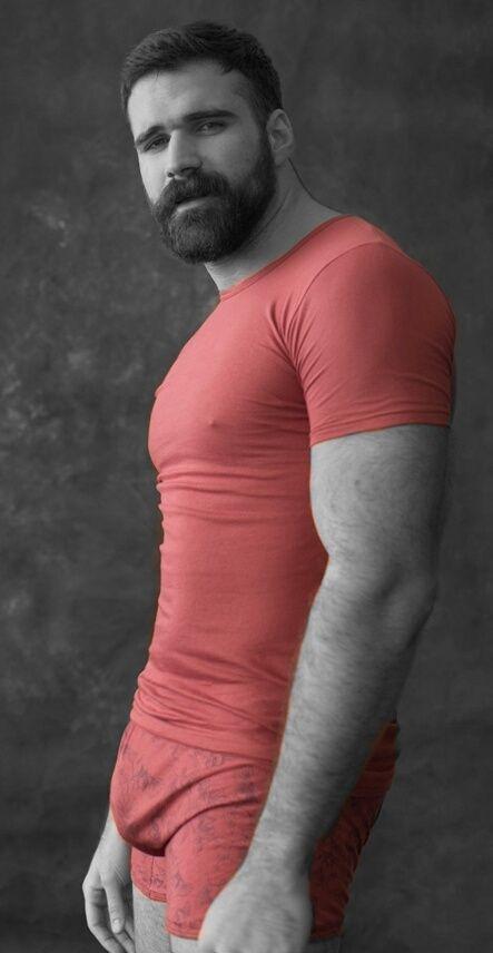 Hot beardo in red.