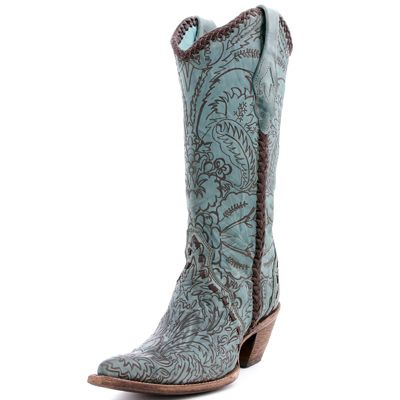 Too cute! Cowgirl Clad Company - Corral Turquoise Engraved Lace Cowboy Boots C1060, $310.00 (http://www.cowgirlclad.com/corral-turquoise-engraved-lace-cowboy-boots/)
