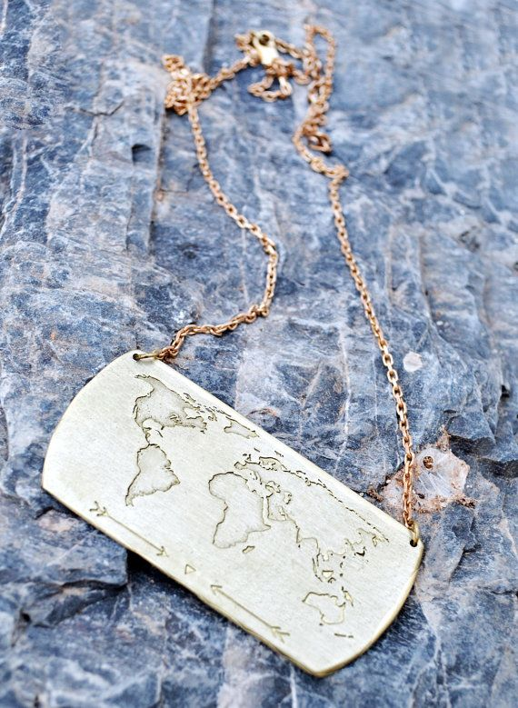 Travel Necklace / World Map Necklace / Traveller Gift by Bubblebox