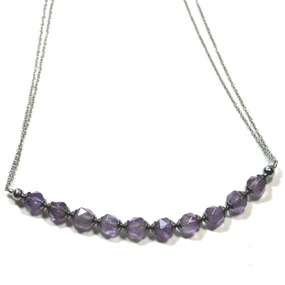 Amethyst micro necklace with stainless steel spacers, chain & clasp