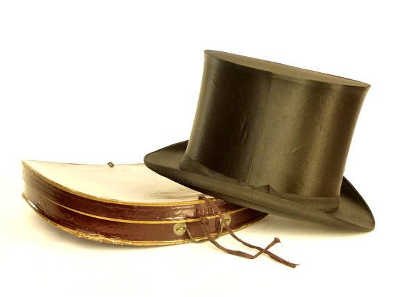 Chapeau claque haut de forme gibus français antique 1900 dans boîte origine - Chapeau Victorien homme opéra noir magicien steampunk