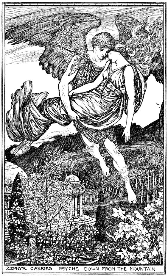 """Illustration by Henry J. Ford. 'Cupid and Psyche' from """"The Red Book of Romance"""" (1921)"""