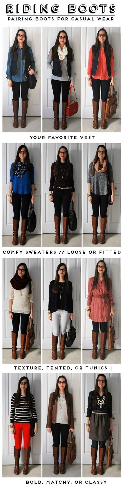 Riding boots can be worn with so many different looks! Like all of these ideas.