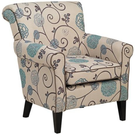 To finish off the mix and match chairs! http://www.lampsplus.com/products/briar-blue-and-taupe-floral-arm-chair__r5557.html