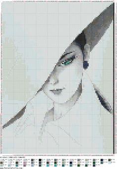Sanatçının Muhteşem Japon kadın Ichiro Tsuruta / Nakış / Cross Stitch Düzenleri