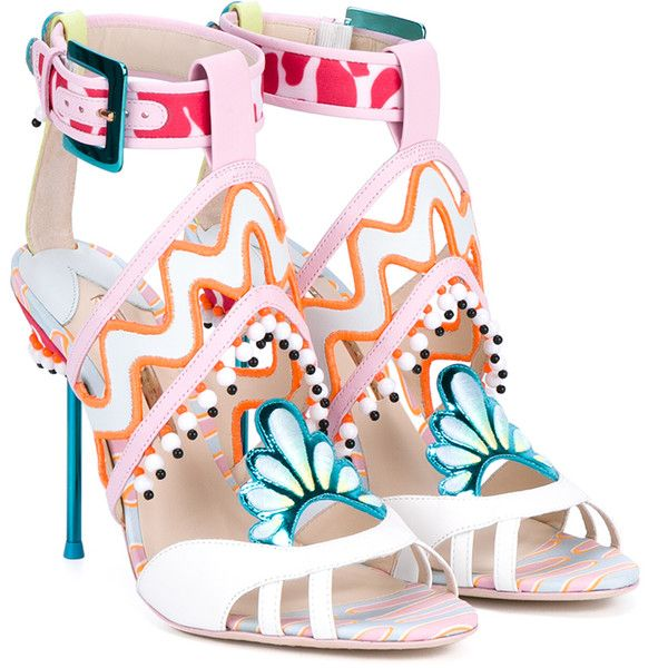 Sophia Webster Nereida Embellished Leather Sandals ($895) ❤ liked on Polyvore featuring shoes, sandals, multi colored sandals, leather shoes, leather sandals, ankle wrap sandals and colorful sandals