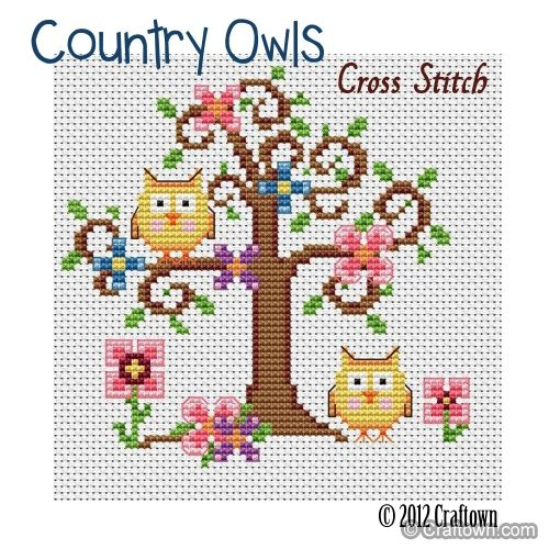 Free Cross Stitch Pattern - Country Owls. Adorable! Below the pattern in small print click on : Print Instructions to get the pattern.