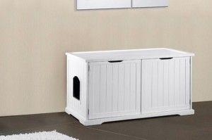 bandeja de arena para gatos oculta en un banco aparador
