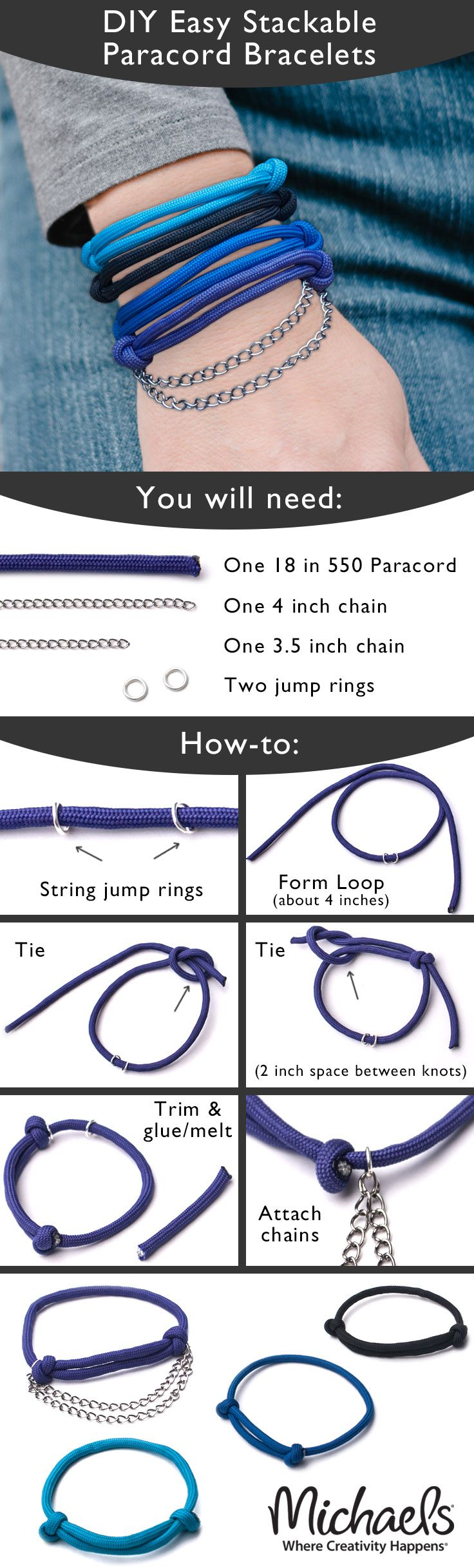 Colorful paracord makes it easy to create these DIY Stackable Bracelets to match your wardrobe